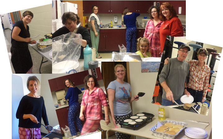 Carman Elementary Parents Whip up Pankcake Bruch for PJ Day