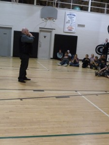 Big Daddy Tazz entertaining the Grade 7-12 students!