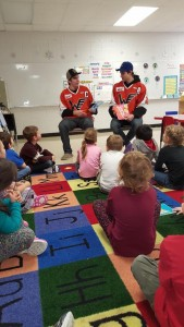 Winkler Flyers read to students