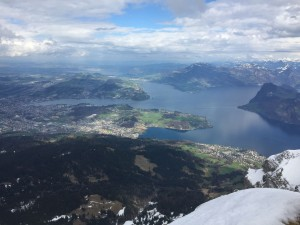 View of Lucerne, Switzerland from the top of Mount Pilatus