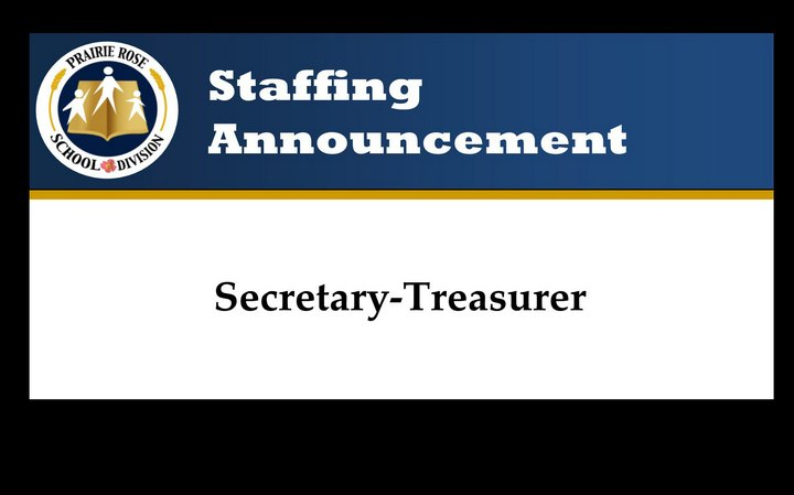 Staffing Announcement – Secretary-Treasurer