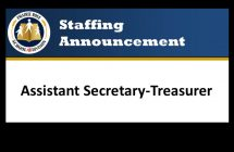 Staffing Announcement - Assistant Secretary-Treasurer