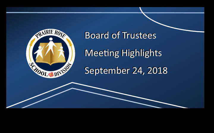 Board Meeting Highlights of the September 24, 2018 Meeting