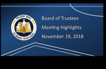 Board Meeting Highlights from November 19, 2018