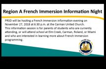 Region A French Immersion Information