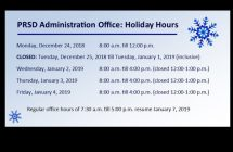 PRSD Office Holiday Hours