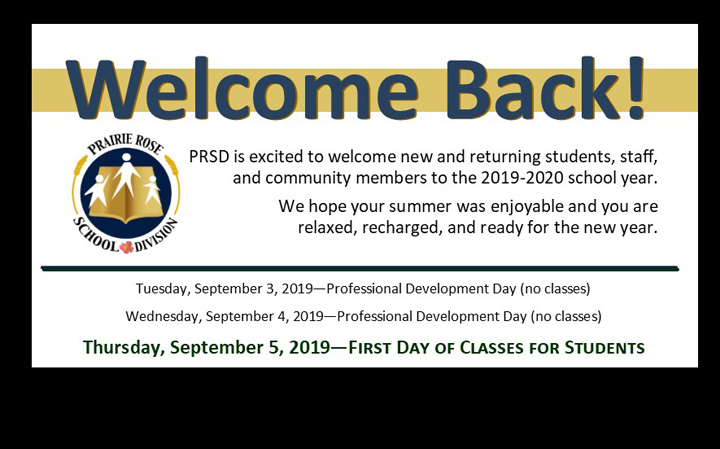Welcome to the 2019-2020 school year, classes start Sept 5.
