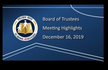Highlights from the December 16, 2019 Board meeting