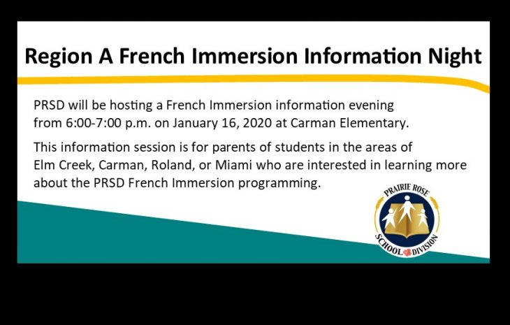 Region A French Immersion Information Session – January 16, 2020