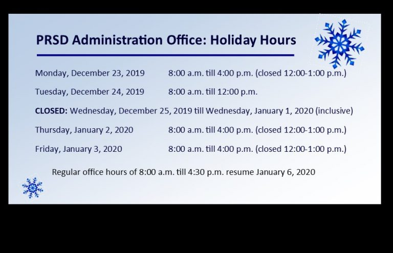 PRSD Admin Office Holiday Hours