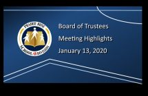 Highlights from the January 13, 2020. Board meeting