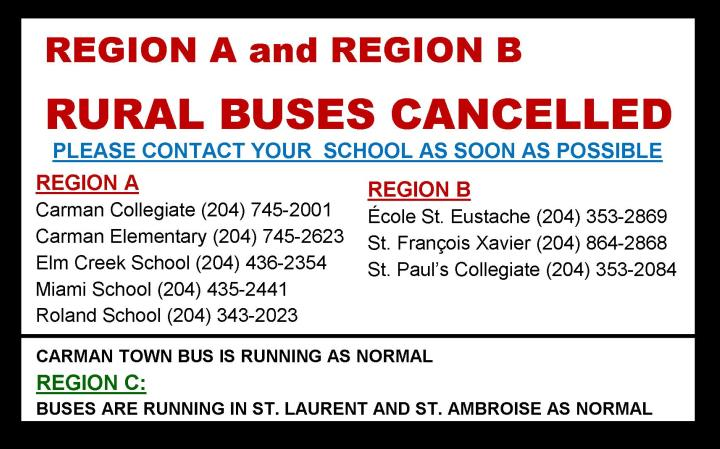 Afternoon Buses Cancelled Region A and B