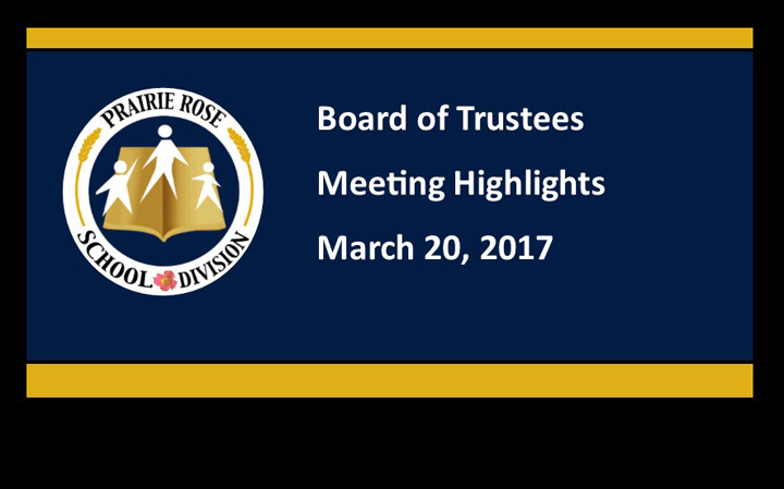 Board Meeting Highlights for March 20, 2017