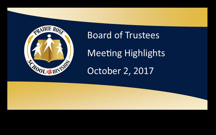 Board Meeting Highlights for October 2, 2017