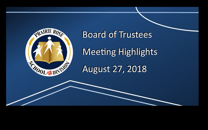 Board Meeting Highlights - August 27, 2018