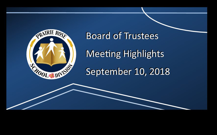 Board Meeting Highlights from September 10, 2018