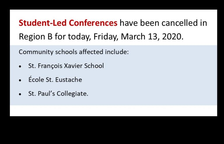 student led conferences cancelled in region b