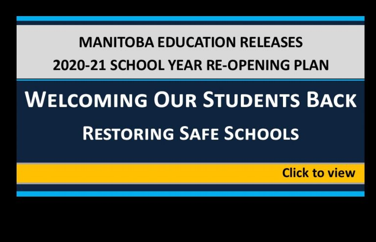 Manitoba Education ReOpening Plan 20-21