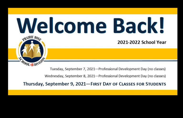 Welcome Back - 2021-2022 School Year